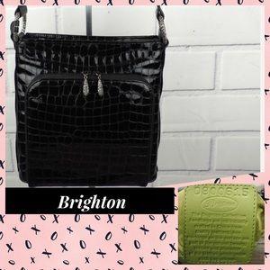 Brighton black croc embossed patent leather bag